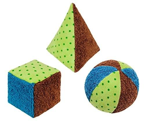 3er Set, Spiel-Rassel Teile, blau/grün kontrolliert biologischer Anbau (organic), Made in Germany