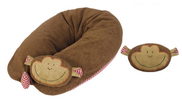 Efie Set Patentiertes* Stillkissen Affe, Inlett gefüllt mit EPS Mikroperlen + Wärmekissen Affe, kont
