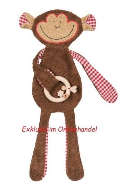 Efie Schmusetuch Affe, Geschenkset mit Holzring, Made in Germany