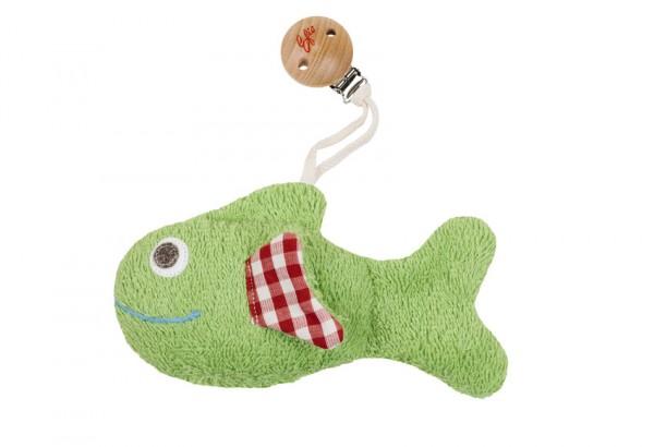 Efie Clip - Fisch grün, mit Rassel, kontrolliert biologischer Anbau (organic), Made in Germany