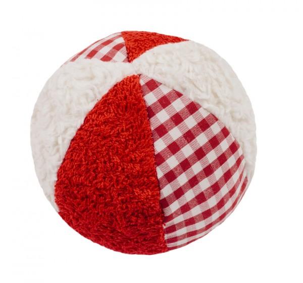 Efie Rassel Ball klein, weiß/rot, kontrolliert biologischer Anbau (organic), Made in Germany