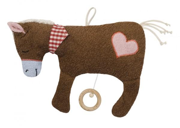 Efie Spieluhr Pferd braun, Herz Applikation, kontrolliert biologischer Anbau (organic), Made in Germ
