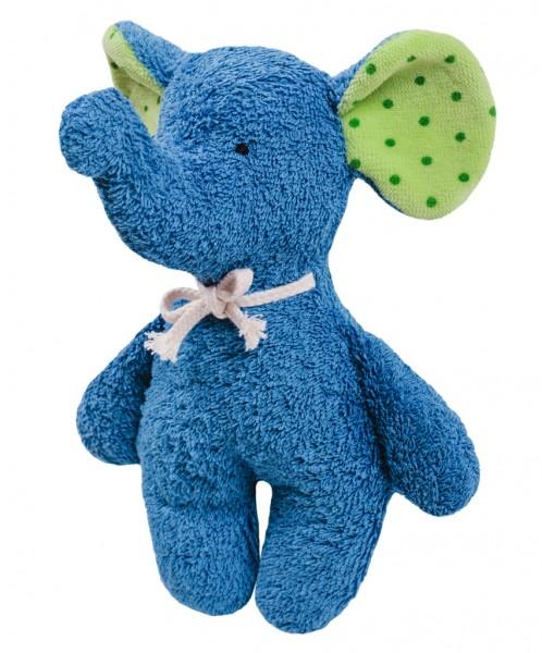 Efie Rassel Elefant blau, kontrolliert biologischer Anbau (organic), Made in Germany