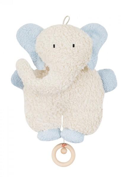 Efie Spieluhr Elefant hellblau, kontrolliert biologischer Anbau (organic), Made in Germany