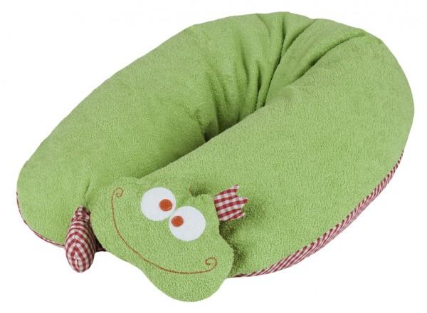 Efie Patentiertes* Stillkissen Frosch mit abnehmbarem Rasselkopf, Inlett gefüllt mit Dinkelspelzen,