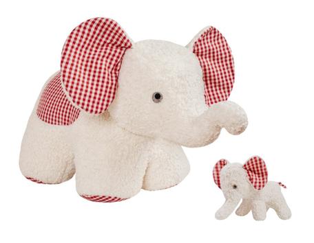 Efie Set Spiel & Kuschel XXL Elefant + Elefant klein weiß, kontrolliert biologischer Anbau (organic)