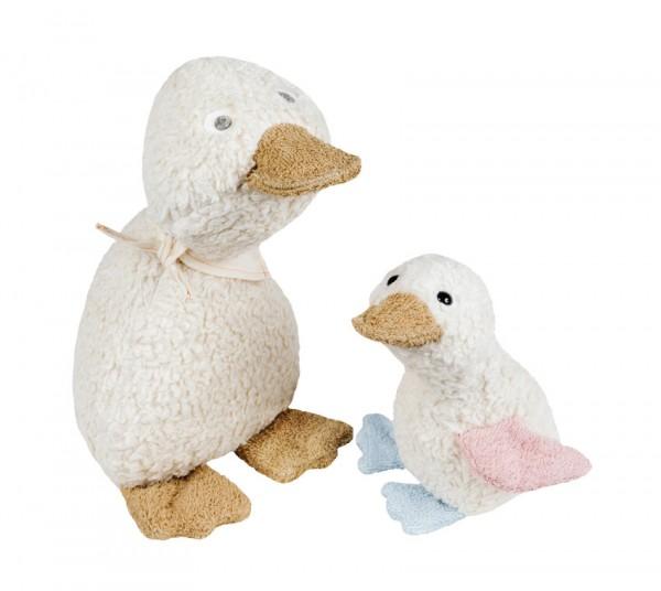 Efie Set Spiel & Kuschel Ente groß + Entchen klein, kontrolliert biologischer Anbau (organic), Made