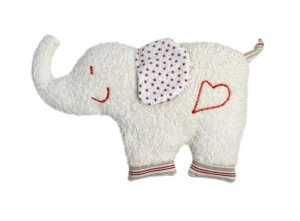 Rassel Elefant rot, kontrolliert biologischer Anbau, GOTS zertifiziert, 100 % Made in Germany