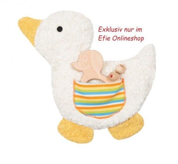Efie Kirschkern-Wärmekissen Ente, Geschenkset mit Greifling, Made in Germany