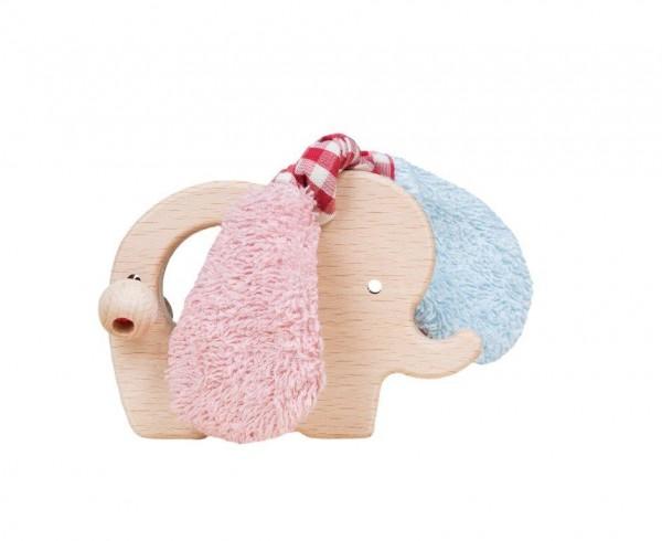 Efie rosa/hellblau Holz Elefant, Made in Germany