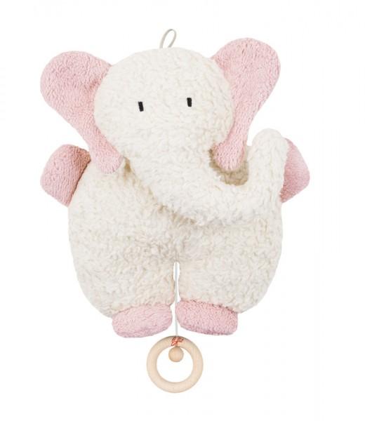 Efie Spieluhr Elefant rosa, kontrolliert biologischer Anbau (organic), Made in Germany